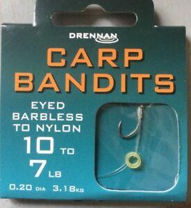 DRENNAN CARP BANDITS - 8 HAIR RIGS WITH BAIT BANDS  - EYED BARBLESS HOOKS