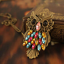 Charm Vintage Colorful Rhinestone Bronze Owl Pendant Necklace Long Chain Jewelry