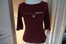 STREET ONE -  3/4 Arm- Shirt *dunkel  Rot, mit Straßsteine * Gr. 42 Neuwertig