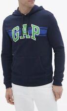 GAP Men Size M Chest-Stripe Logo Pullover Hoodie Sweatshirt Light Heather Navy