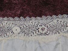 Antique Vtg Silk Chiffon~Irish Crochet Lace~Camisole~Slip Teddy 1920s Flapper