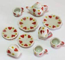 10-Piece Dollhouse Miniature Ceramic Plate Tea Set Doll Mini Food Teapot Cup c15