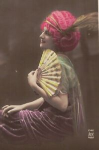 ME3876 WOMAN WITH A RED WIG AND HANDFAN POSING RPPC HAND. COL