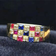 Blue Sapphire & Ruby Men Ring in Solid 925 Sterling Silver Gold Plated Jewelry