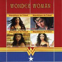 Chad Superheroes Stamps 2019 CTO Wonder Woman Gal Gadot Film Movies 4v M/S