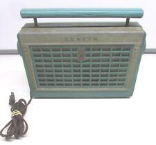 Vintage 1950's Zenith Model Z402F Portable Tube Radio Blue/Green Plastic