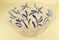 """Art Glass, Frosted with Cobalt Blue Designs, 8"""" by 4 1/2"""" Decorative Bowl"""