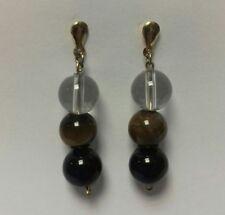 NEW HANDMADE 9ct Gold Drop Stud Earrings Black Brown Clear Rock Bead 4.6g pair