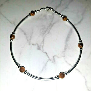 "Tiger Eye & Sterling Silver Tube Style Bracelet 925 SS 6.5"", 7"", 7.5"" or 8"""