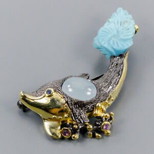 Turquoise Brooch Silver 925 Sterling Jewelry Handmade /NB08996