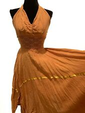 Vintage Retro Rust 1970s Mexican Hippy Boho Crochet Halter Handkerchief Dress