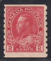 "Canada MINT OG Scott #127  2 cent carmine  ""KGV Admiral COIL""  F"