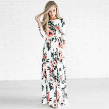 Women Summer Boho Long Sleeve Evening Party Cocktail Floral Beach Maxi Dress Pop