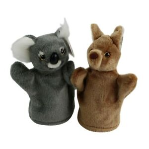 2 Quality 3D Head Australia Kangaroo Koala Hand Puppet Australian Animal Fauna