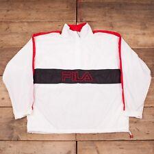 "Mens Vintage Fila 1990s White Spellout Festival Windbreaker Jacket XL 48"" R8854"