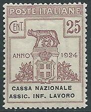 1924 REGNO ENTE PARASTATALE ASSIC. INF. LAVORO 25 CENT MNH ** - E92
