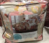 Martha Stewart Collection Painters Palette Reversible Coral Queen Comforter Set