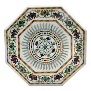 "36"" Marble Center Table Top Pietra Dura Work Inlay Handicraft Home Decor"