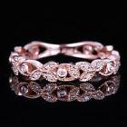 Vintage Estate Wedding Band Real 10K Rose Gold Engagement Natural Diamond Ring