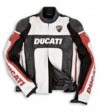 DUCATI BLACK/WHITE   MOTORBIKE RACING LEATHER JACKET CE APPROVED