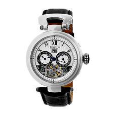 Heritor Automatic Ganzi Semi-Skeleton Leather-Band Watch - Silver