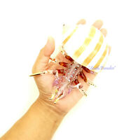 Hermit Crab Real Sea Shell Hand Blown Glass Figurine Animal Painted Gold Trimmed