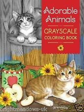 Adorable Animals Greyscale Adult Colouring Book Cute Sweet Kittens Puppies Cat