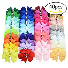 40 Pcs 3inch Boutique Grosgrain Ribbon Baby Girls Hair Bows with Clips for Te.