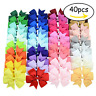 40 Pcs 3inch Boutique Grosgrain Ribbon Baby Girls Hair Bows with Clips for Te...