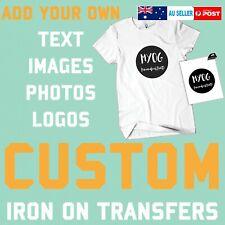 Custom Text Iron On T Shirt Transfer Your Image Photo Logo Personalised Prints