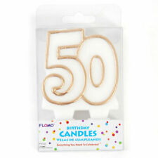 "Number ""50"" Gold Birthday or Anniversary Candle"