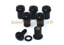 6x m5 Black Motorcycle Windshield Bolts Fairing Bolt Fixings & Rubber Well Nuts