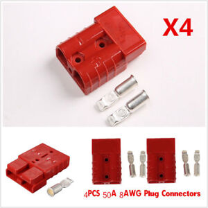 4pcs 50A 8AWG Battery Quick Connect Connector Plug Disconnect Winch Trailer Red