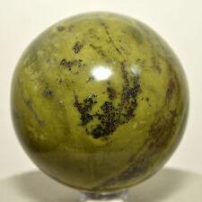 "2.2"" Yellow Green Serpentine w/ Pyrite Sphere Natural Crystal Stone Ball - Peru"