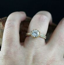 1.25 Ct Round Sim Diamond Solitaire W/Accents Engagement Ring 14K Yellow Gold