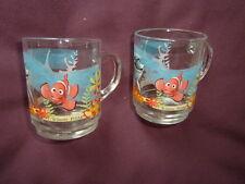 2 Disney Pixar FINDING NEMO Clear Glass Mugs,9CM TALL