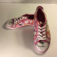 Coach Women's Barrett Canvas Shoes Size 8.5 B Pink White Multi-Colored Comfort