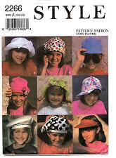 Style 2266 Kids Childrens Hats Sewing Pattern ~ 6 Styles ~ Baseball Visor ++