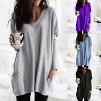 Women Warm Long Sleeve V Neck Sweatshirt Pocket Loose Pullover Tunic Tops Blouse