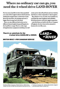 Vintage Style 1960's Land Rover Canadian Overseas 4x4 Advert A4, A3, A2 Poster