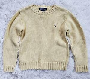 Boys Ralph Lauren Pullover Sweater Size 6 Yellow Heavy Knit Blue Pony