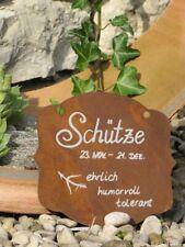 Edelrost Sternzeichen Gedichttafel Wassermann  Metallschild Gartenschild Rost