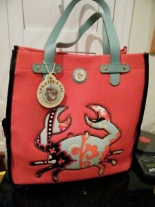 "NWT SPARTINA 449 BEACH,CRAB LG TOTE BAG RED CANVAS SIDE OPEN POCKETS 14.5"" X 14"""