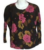 Garnet Hill Wool Brown Pink Floral Lightweight Button Front Cardigan Sweater L