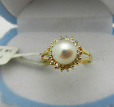 Pearl & Diamond Halo Ring Vintage Style 14k Yellow Gold Natural
