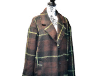 EX URBAN OUTFITTERS Womens smart office coat black brown green large checkered