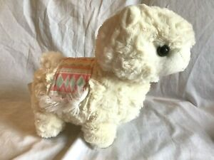 """KELLYTOY Llama Alpaca Ivory with Pink Aztec Saddle 10"""" Soft Plush Animal *NWOT*"""