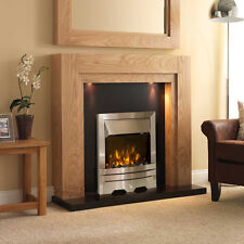ELECTRIC OAK SURROUND SILVER BLACK GRANITE WALL FIRE FIREPLACE SUITE LIGHTS 54""