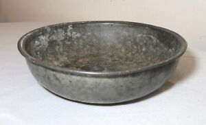 large RARE antique 1600's Medieval hand forged pewter dinner dish bowl flatware