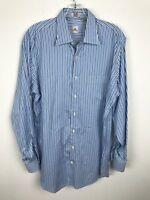 Peter Millar Dress Shirt Size M Cotton Blue Striped Long Sleeves Button Front